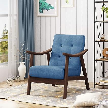 Amazoncom Aurora Mid Century Modern Accent Chair Navy Blue