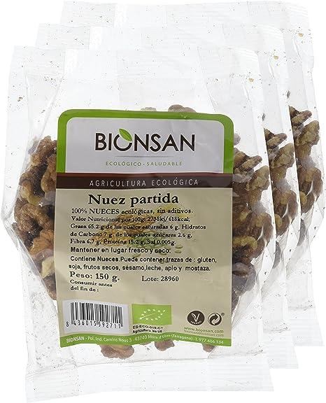 Bionsan Nueces a Mitades Ecológicas - 3 Bolsas de 150 gr - Total: 450 gr: Amazon.es: Alimentación y bebidas