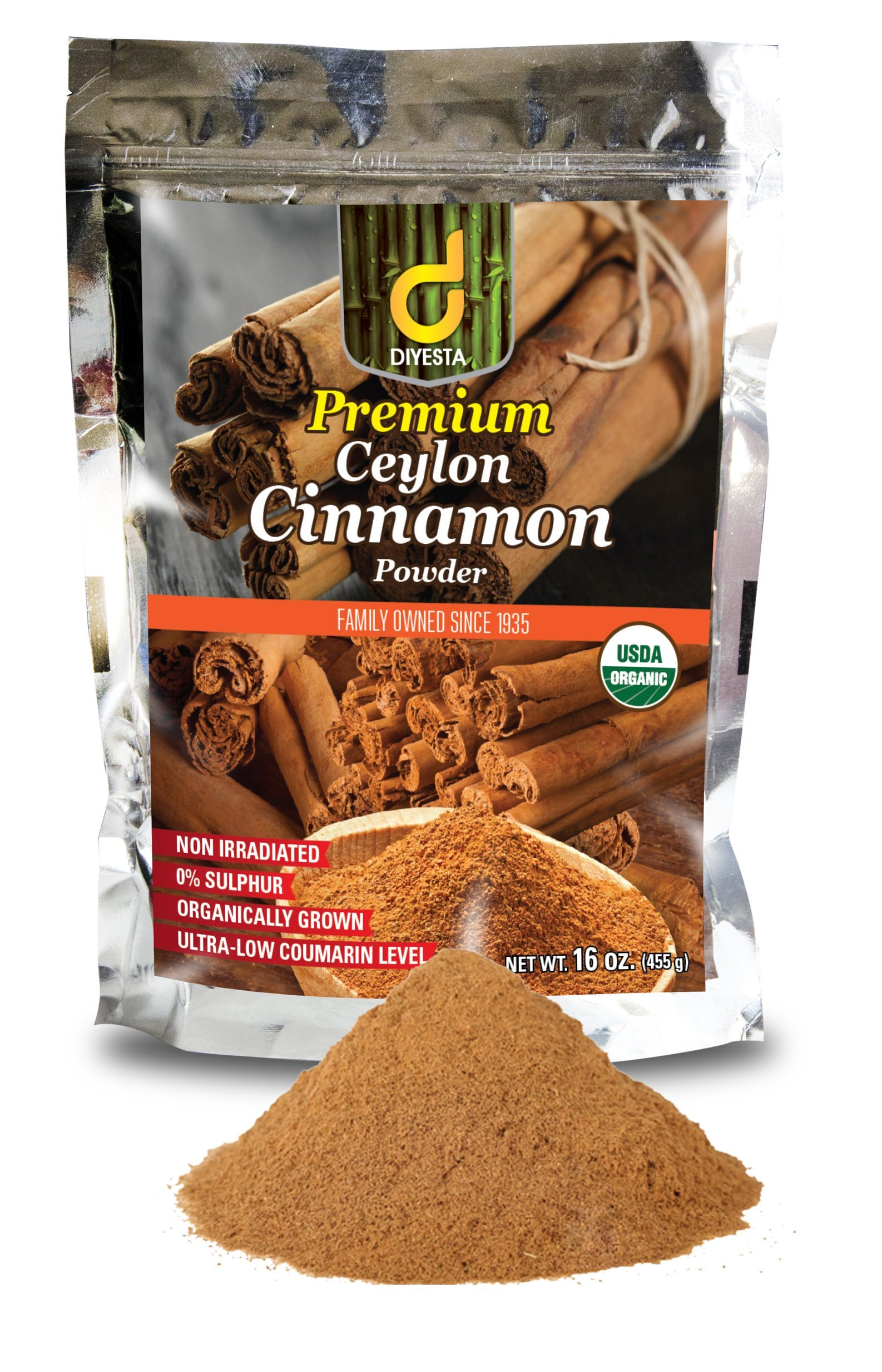 Organic Ceylon Cinnamon Powder - Family Owned Since 1935 - 1 Lb. in a Handy Re-sealable Pouch by Diyesta