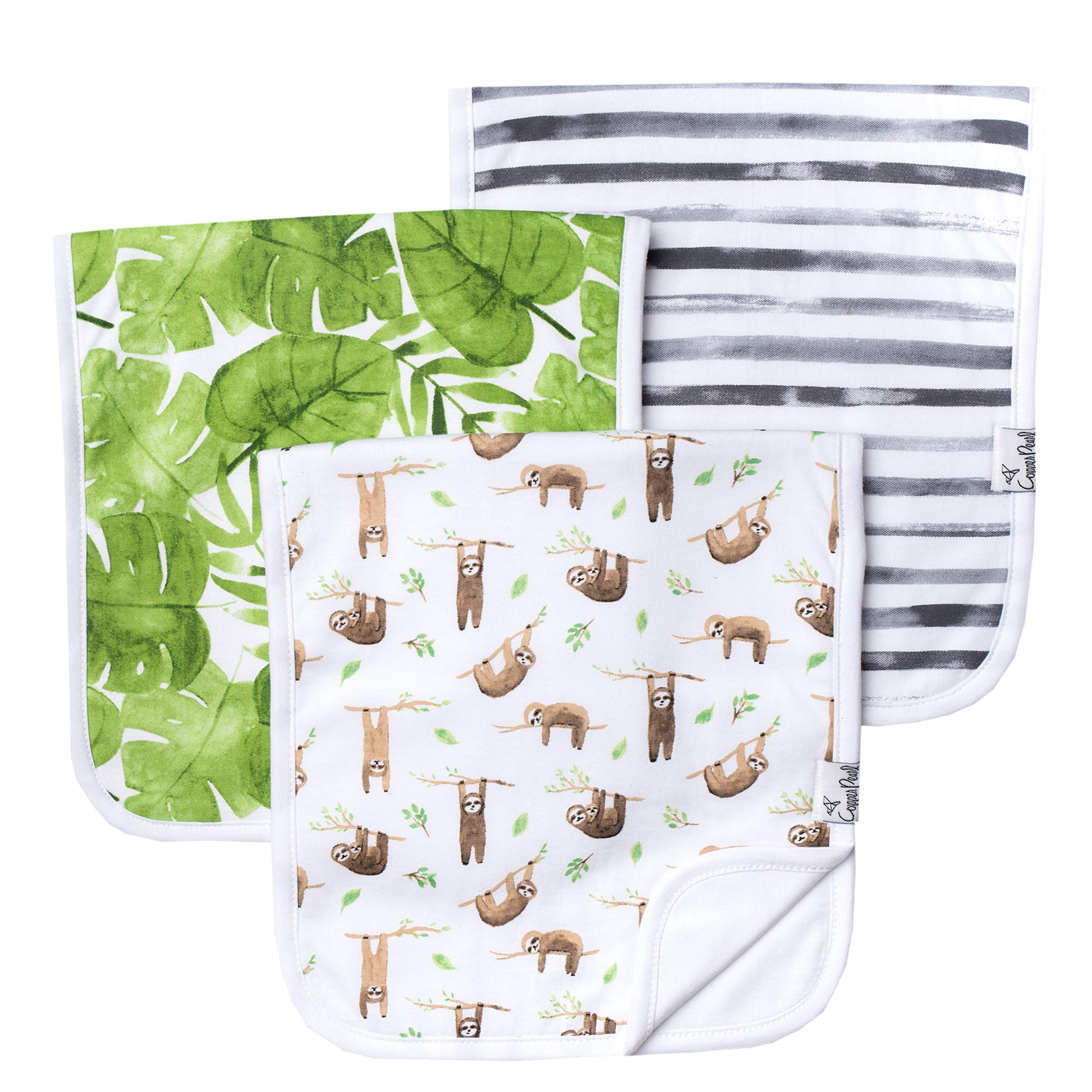 Baby Burp Cloth Large 21''x10'' Size Premium Absorbent Triple Layer 3 Pack Gift Set ''Noah'' by Copper Pearl