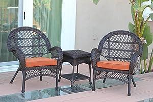 Jeco 3 Piece Santa Maria Wicker Chair Set with Orange Cushions, Espresso