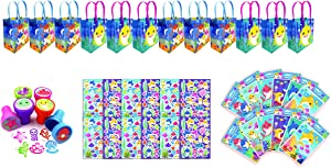 TINYMILLS Shark Family Party Favor Set of 60 Pcs (12 Treat Bags, 24 Stampers, 12 Sticker Sheets, 12 Coloring Book Set with Crayons)