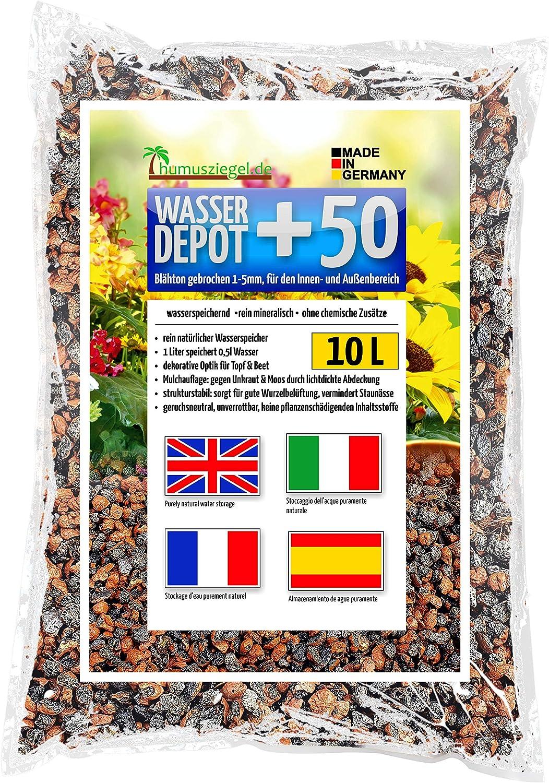 Humusziegel - Wasser Depot +50 grânulos de argila expandida 1-5mm quebrados, como armazenamento de água, contra ervas daninhas e alagamento 10 L