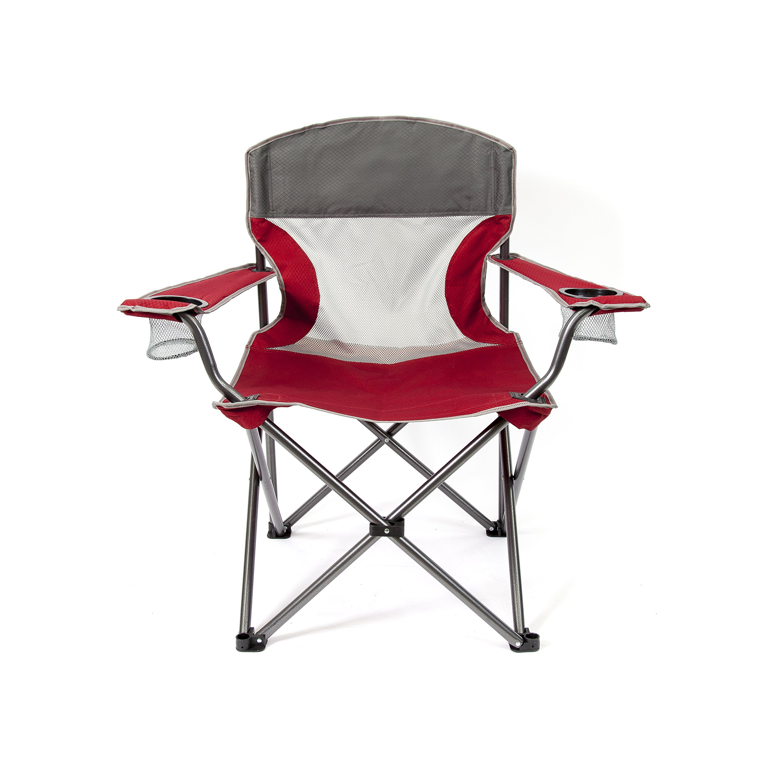 Mac Sports TBBM-109 Big Comfort XL Folding Quad Outdoor Camp Chair with Carry Case, Red by Mac Sports