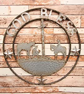 """Ebros Gift Oversized 24"""" Wide Vintage Rustic Round Sign Braided Rope Galvanized Metal Circle Wall Decor 3D Art Decorative Greeting Plaque Western Country Ranch Home (Praying Cowboys God Bless)"""