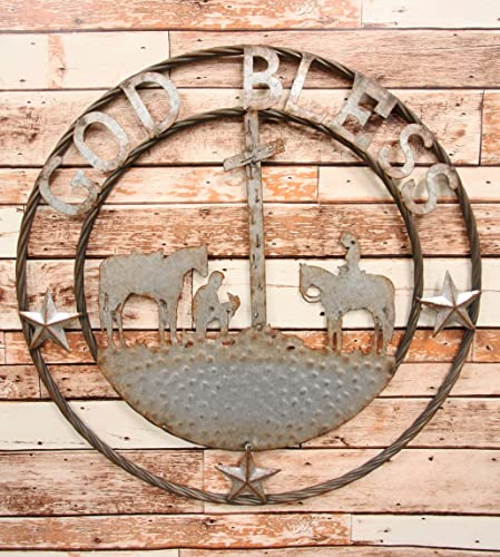 Ebros Gift Oversized 24″ Wide Vintage Rustic Round Sign Braided Rope Galvanized Metal Circle Wall Decor 3D Art Decorative Greeting Plaque Western Country Ranch Home Praying Cowboys God Ble