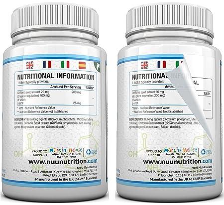 5-HTP 200 mg | Doble Potencia | 180 Comprimidos (Suministro para 6 ...
