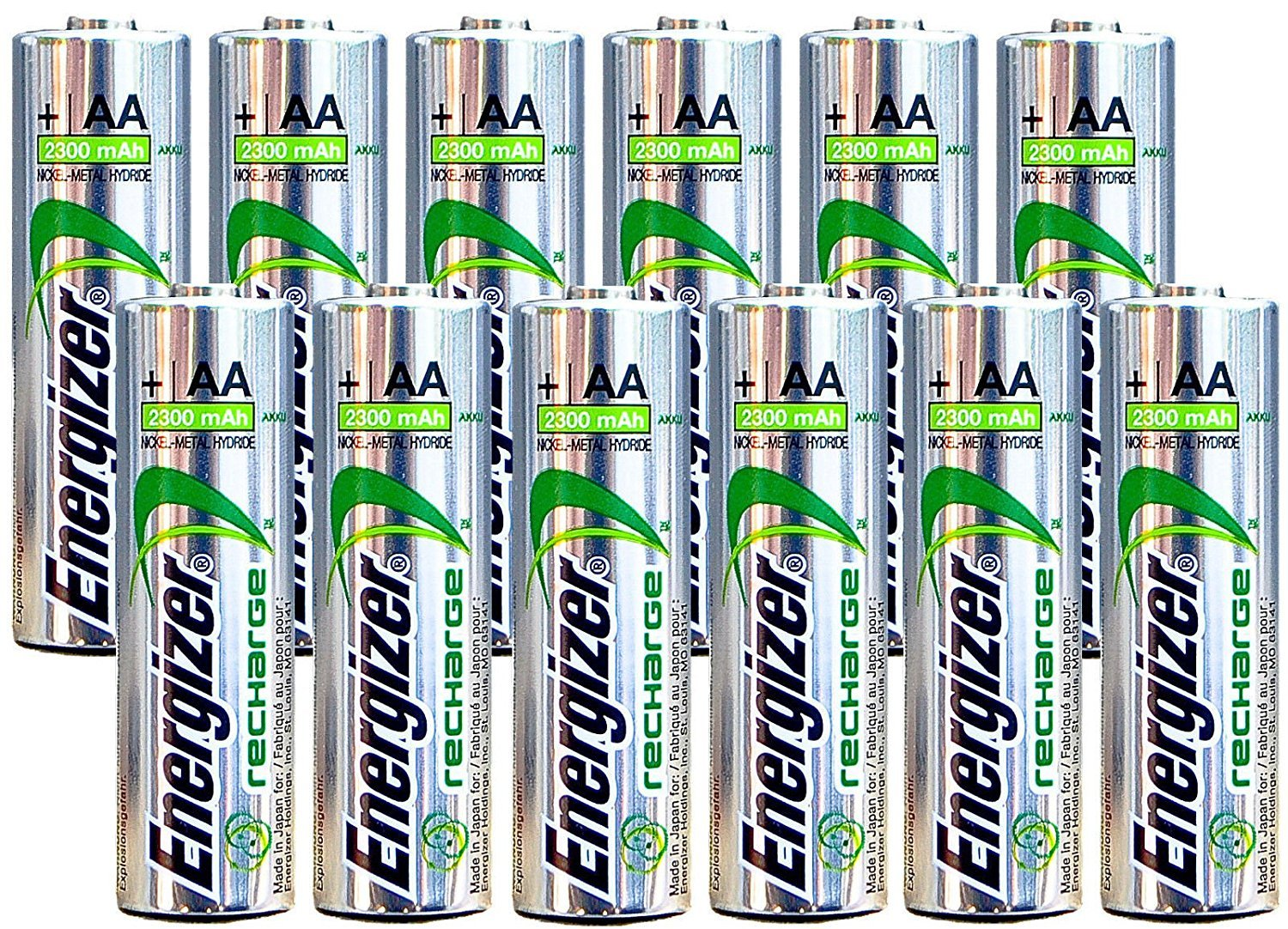 Energizer AA Rechargeable batteries NiMH 2300 mAh 1.2V NH15 - 12 Count by Energizer Batteries (Image #1)