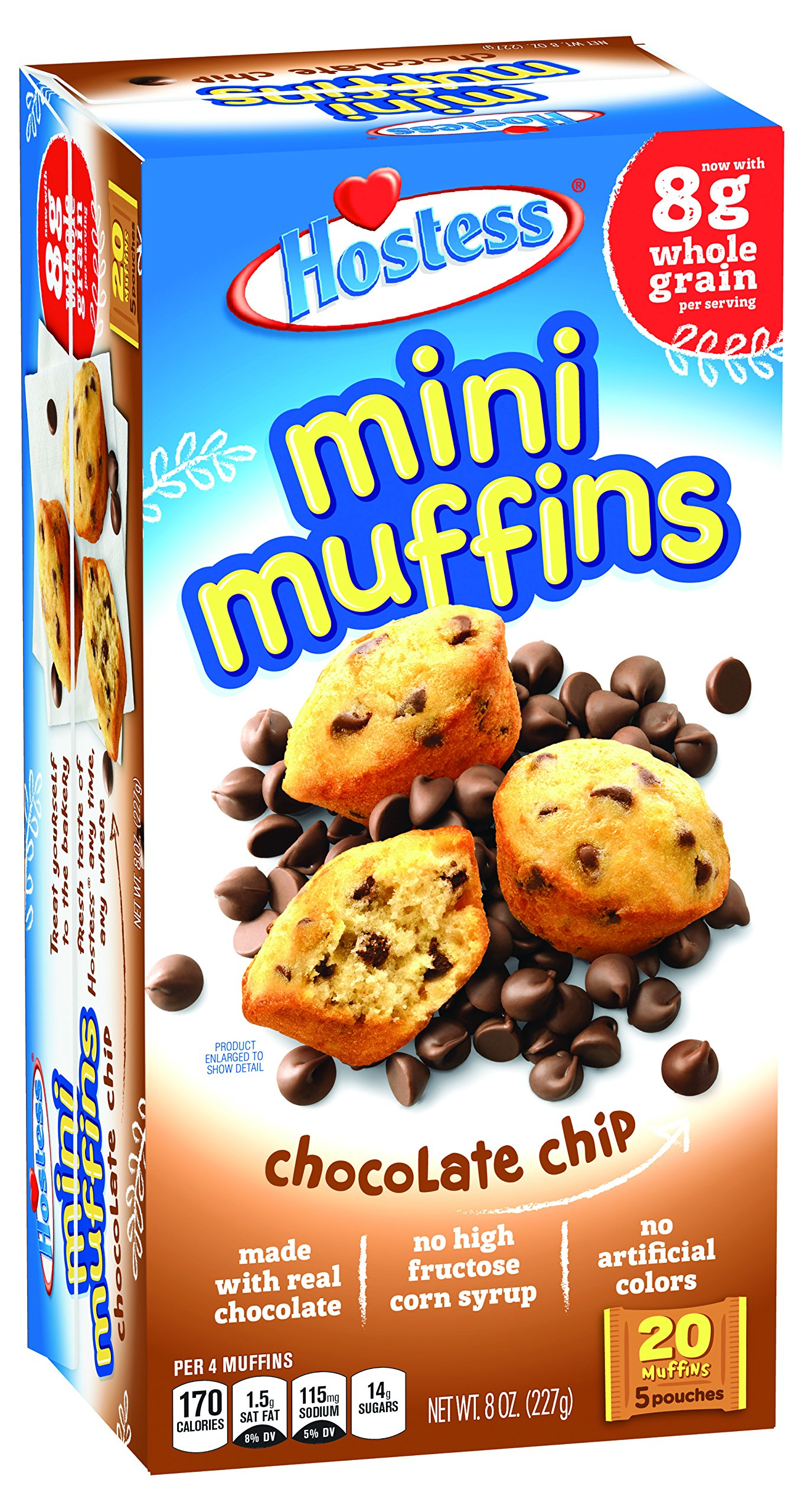 Hostess Mini Muffins, Chocolate Chip, 20 Count, 8 OZ (Pack of 6) by Hostess