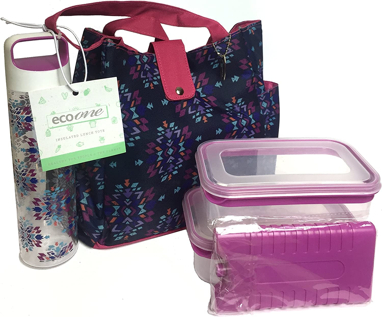 SILVER ONE Durable & Reusable Premium Insulated Heavy Duty Tote Lunch Bag Set for Picnic/Beach |Includes 2 Food Storage Containers, 1 Ice Pack, 1 Plastic Water Bottle | Button Snap Closure By Eco One