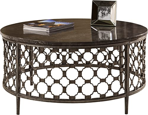 Hillsdale Furniture Hillsdale Brescello Round Coffee Table, 36 , Charcoal Blue Stone