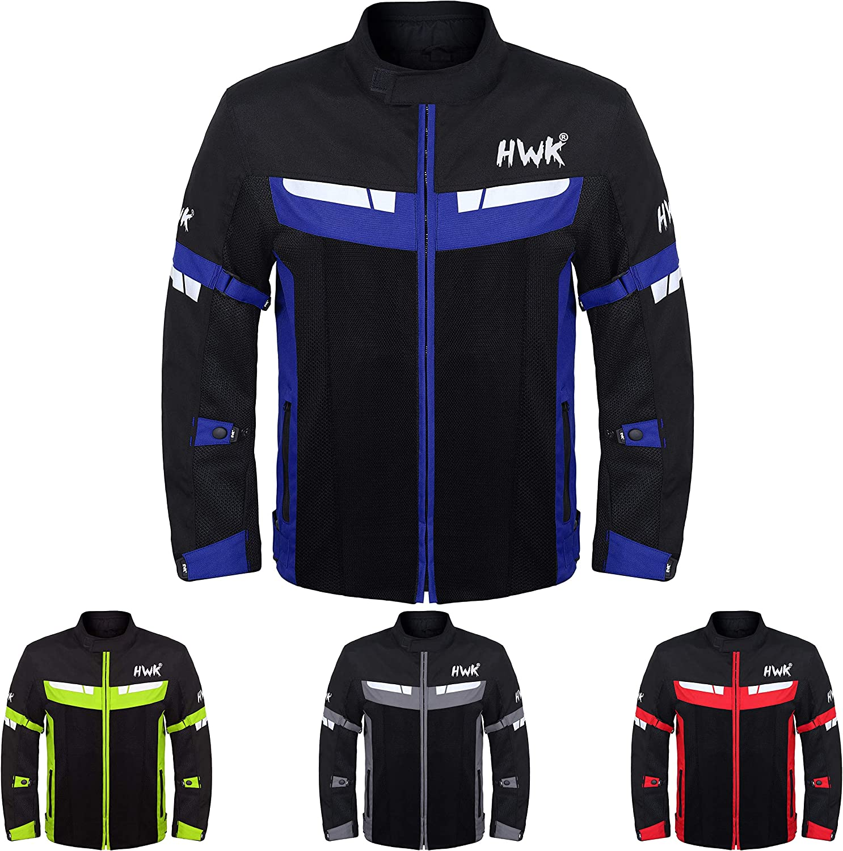 Mesh Motorcycle Jacket Textile Motorbike Summer Biker Air Jacket CE ARMOURED BREATHABLE XXX-Large, Black