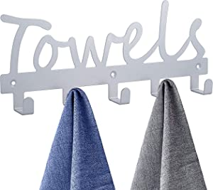 Towel Racks Wall Mount 5 Hooks,Bathroom Hooks Towel Holder Matte Nickel Towel Racks,Rustproof and Waterproof for Bath Towel Organizer,Bedroom,Kitchen,Living Room Towels, Clothing,Keys,Easy Install