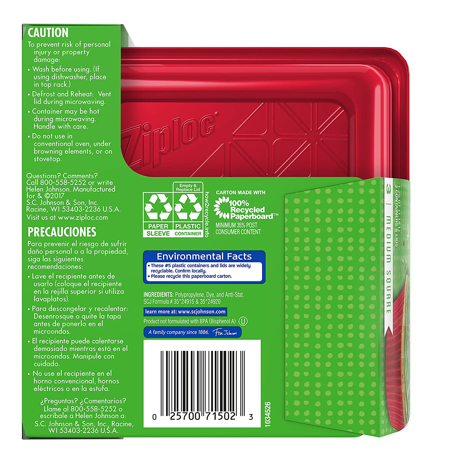 Amazon.com: Ziploc Limited Edition Holiday Container, Red, Medium Square, 3 Count: Health & Personal Care