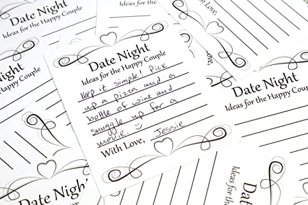 Review Date Night Idea Card Game for Wedding Reception, Bridal Shower, Engagement Party or Rehearsal Dinner. (50 ct.) Learn the Secrets to Keeping Your Marriage Fresh.