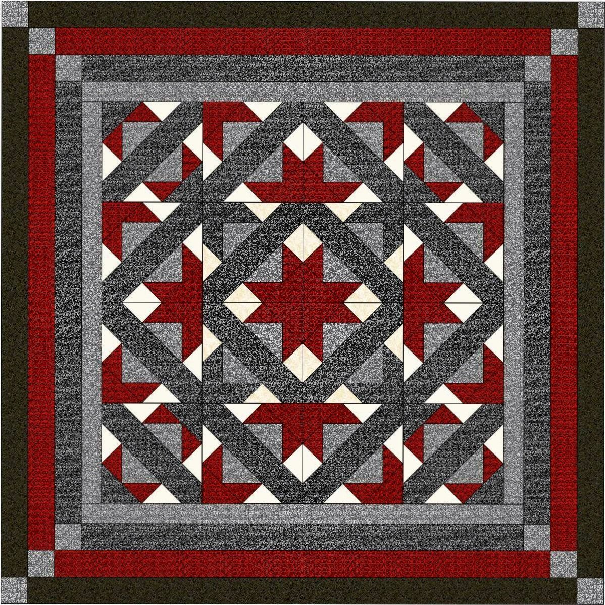 Easy Quilt Kit Path to the Stars!! Red, Black, Gray/King/Expedited Shipping Galaxy/RJR