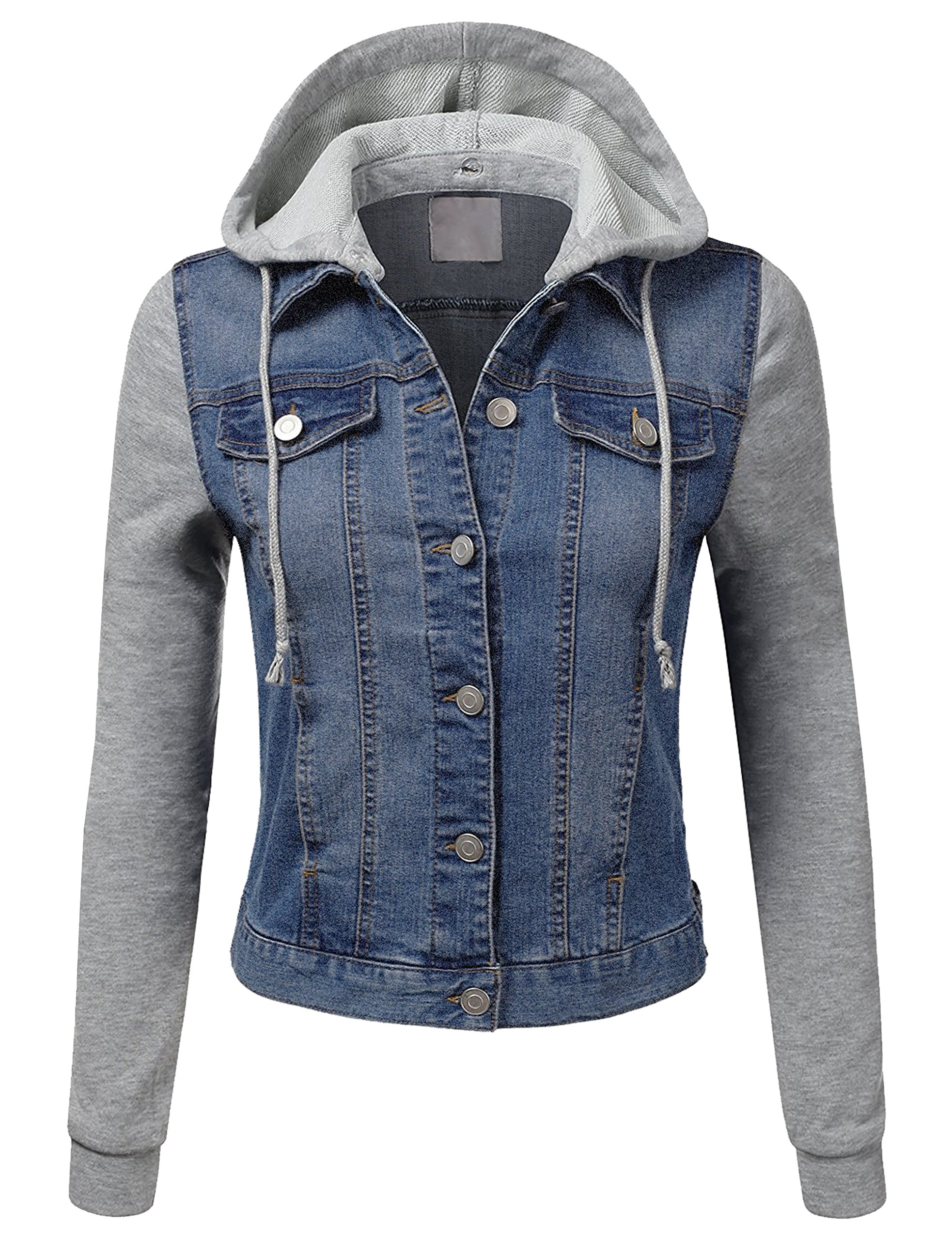 BEKDO Womens Hoodie Denim Jacket Lightweight Fleece Sleeve and Pockets-S-Blue