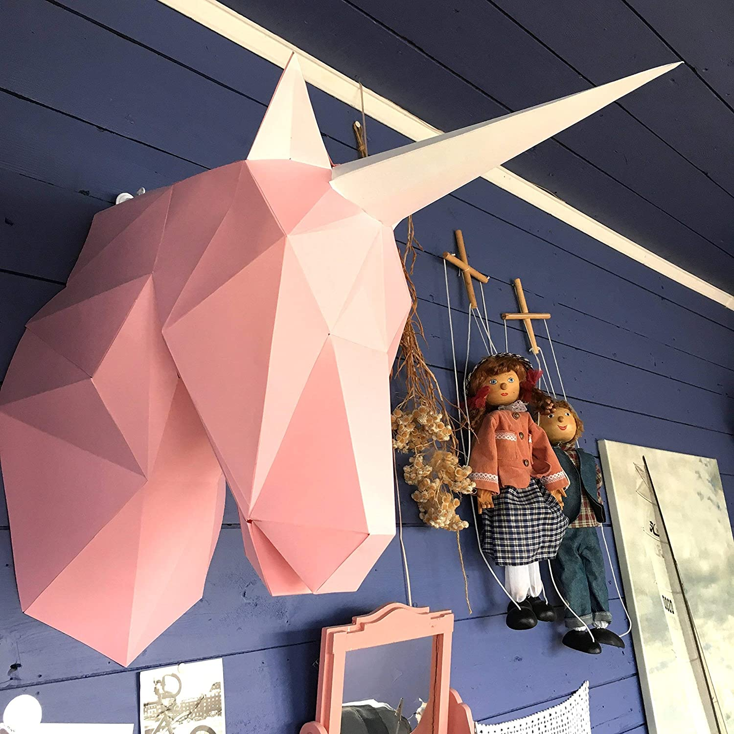 Unicorn 3d papercraft KIT. Kit contains card stock paper template for this DIY (do it yourself) paper sculpture.