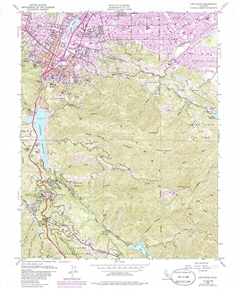 Amazon Com Yellowmaps Los Gatos Ca Topo Map 1 24000 Scale 7 5 X