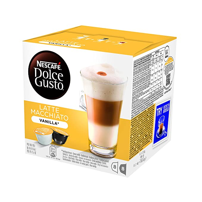 NESCAFÉ Dolce Gusto Café Latte Macchiato Vainilla, Pack de 3 x 16 Cápsulas - Total