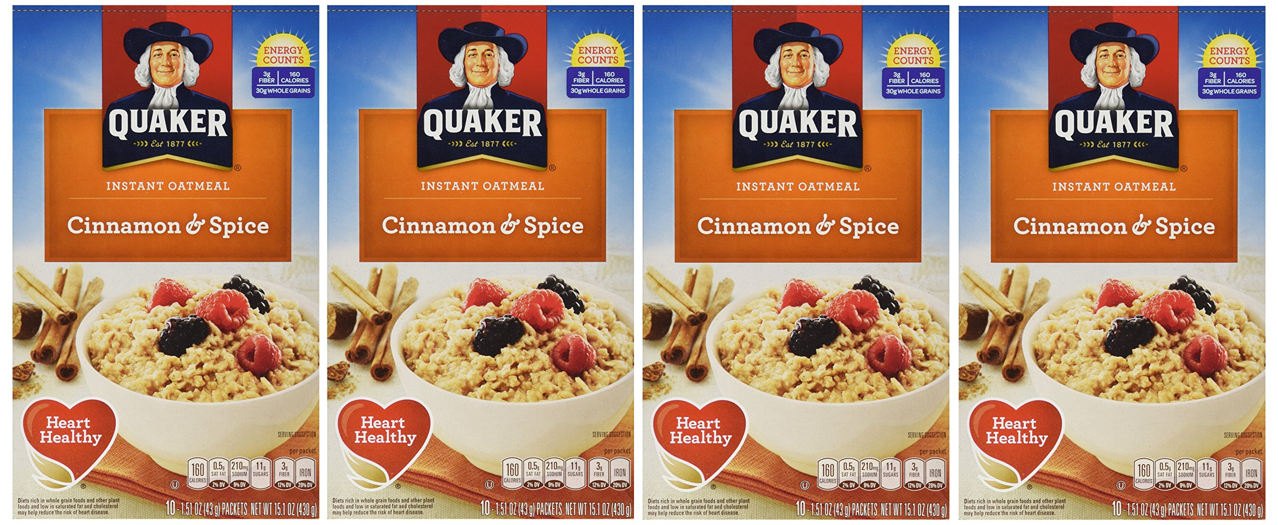 Quaker Instant Oatmeal Cinnamon & Spice, 10-Count Boxes (Pack of ...