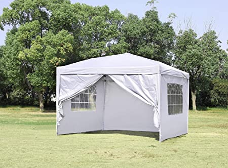 CHARAVECTOR 10 x 10 ft Heavy Duty Ez Pop Up Gazebo Canopy Tent for Outdoor Waterproof Party Wedding Exhibition Pavilion BBQ Beach with 4 Removable Sidewalls White