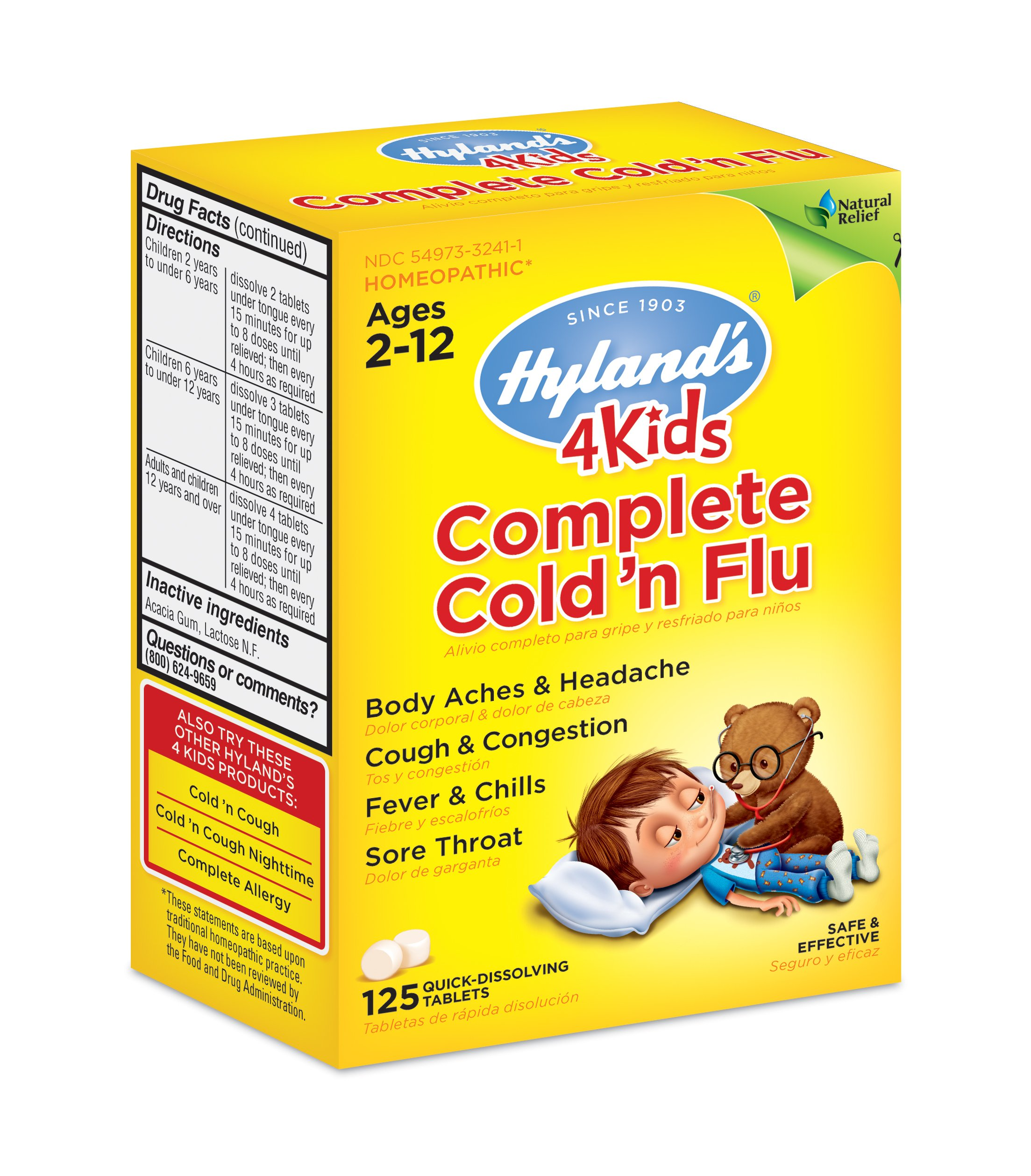 Hyland's 4 Kids Complete Cold 'n Flu, Natural Relief of Cold and Flu Symptoms, 125 Quick Dissolving Tablets