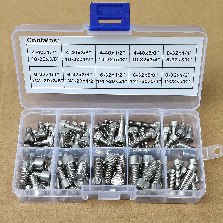96Pcs 304 Stainless Steel 4-40 to 1//4-20 Allen Hex Socket Head Cap Screws Bolts Assortment Kit GAVAN