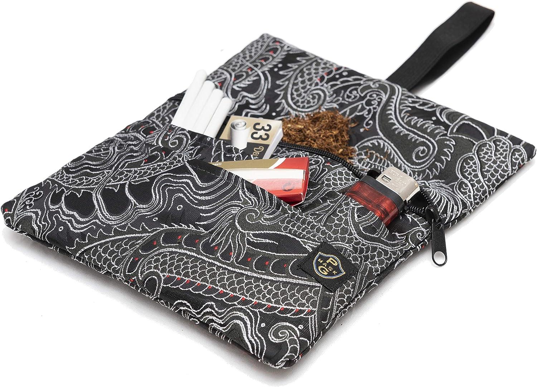 Chinese Dragon - Black Astuccio Portatabacco in Tessuto Realizzato a Mano Porta Tabacco Donna//Uomo con Tasca Segreta. Porta Tabacco Cartine e Filtri
