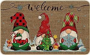 Christmas Decorative Doormat Xmas Welcome Christmas Gnome Tomte Mat Non Slip and Washable Winter Doormat Rubber Back Santa Snowflakes Door Mat for Indoor Outdoor, 28 x 17 Inch