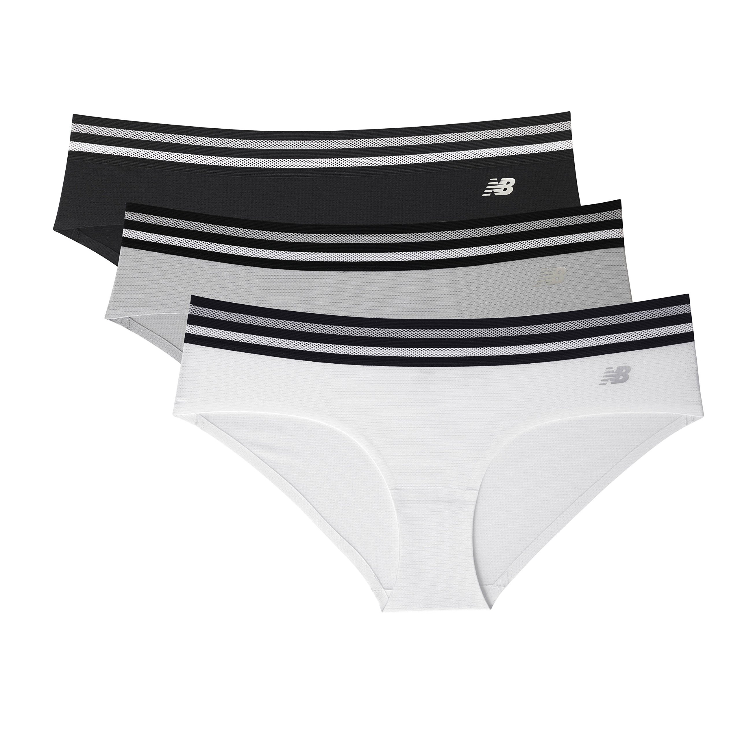 New Balance Womens Athletic Mesh Hipster Underwear (Pack Of 3),White/Silver/Black,Medium/10-12