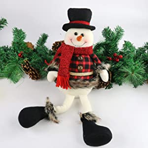 Houwsbaby Christmas Decoration Handmade Plush Snowman Figurines with Jingle Bells Home Desktop Collectible Stuffed Dolls Holiday Party Supplies Sitting Traditional Table Ornament, Red, 20'' (Snowman)