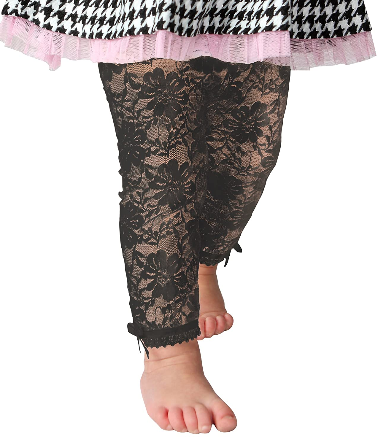 2-4 Years, Off-white lace Baby Infant /& Toddler Girl-Soft Lace Leggings-Capris-Satin Bows-Comfort Waist