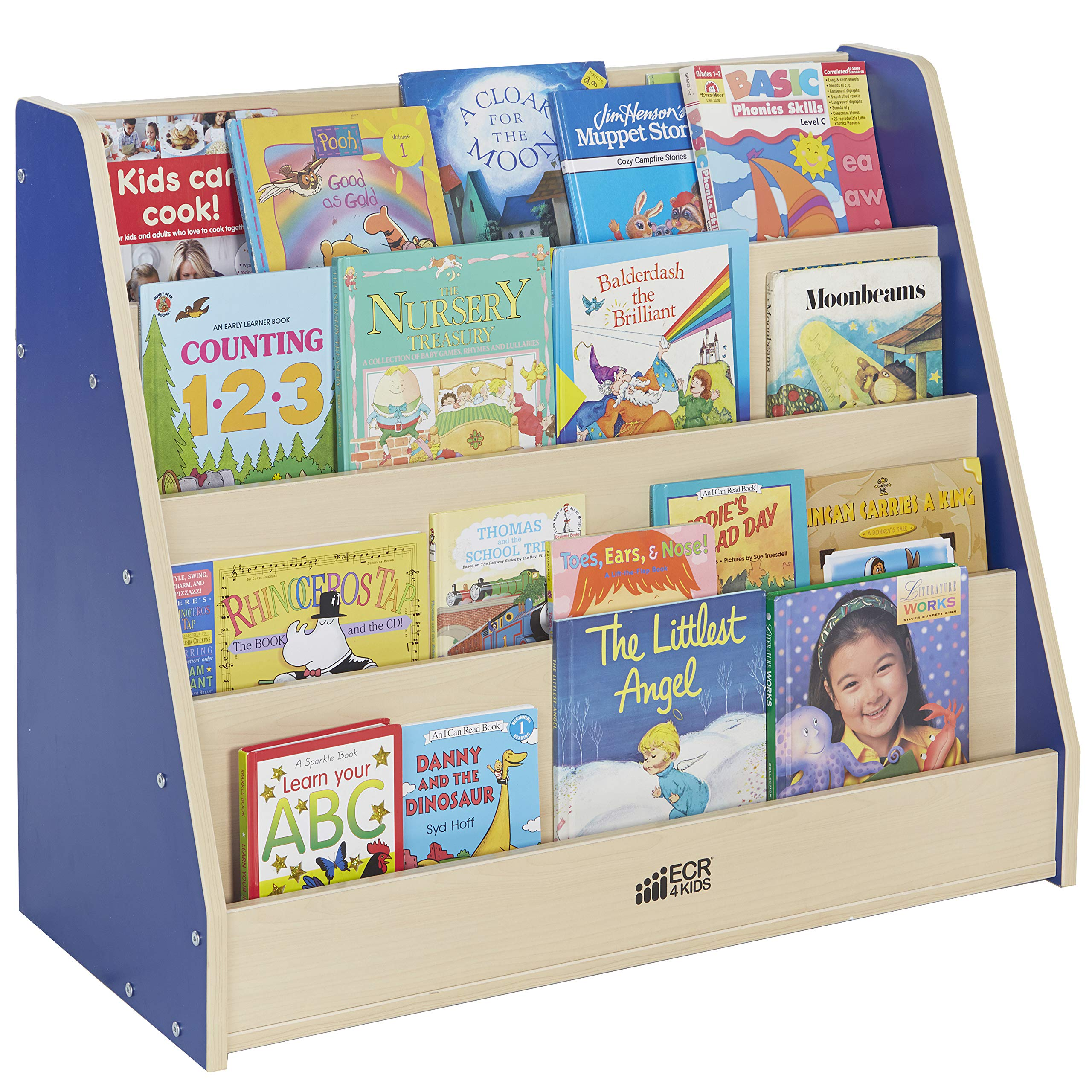 ECR4Kids Colorful Essentials 4-Tier Book Display Stand, Blue