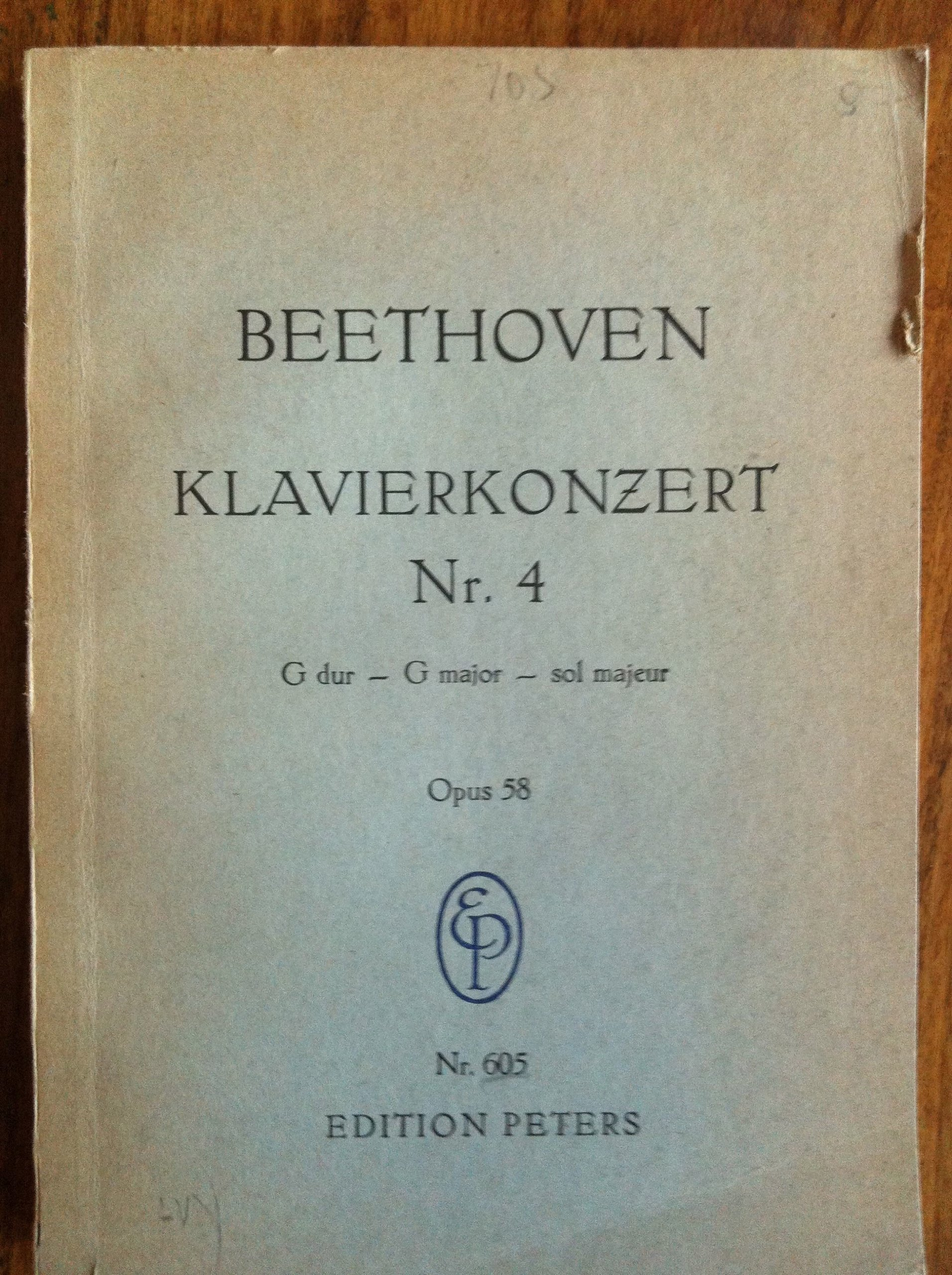 Opus 58. Sol Majeur Beethoven : Klavier-konzert G Dur G Major . pauer