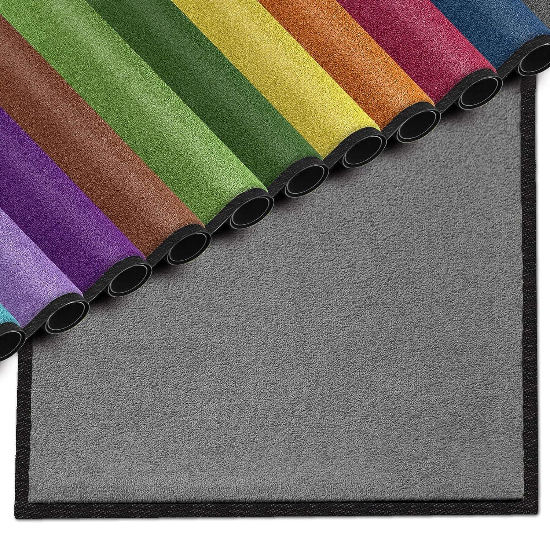 Casa pura Premium Fußmatte für Innenbereich   Schmutzfangmatte als Fußabtreter   mit Brandschutzklasse B1   in vielen Farben und Größen (Dunkelgrau B03-100x150 cm)