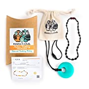 Baltic Amber Teething Necklace Gift Set + FREE Silicone Teething Pendant ($15 Value) Handcrafted, 100% USA Lab-Tested Authentic Amber - Natural Teething Pain Relief (Unisex - Cherry - 12.5 Inches)
