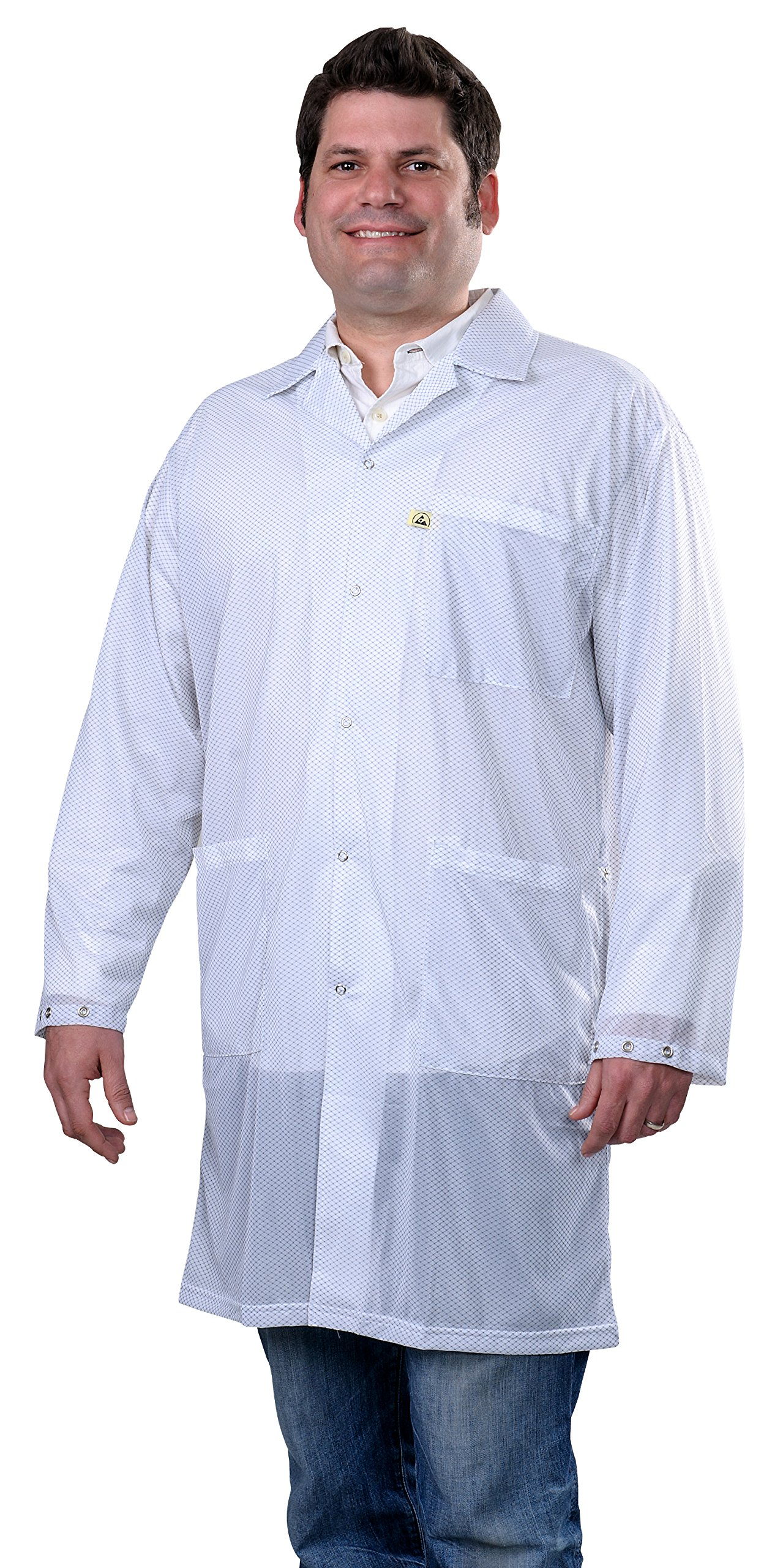 DESCO 73624 Polyester Smock Statshield Labcoat with Snaps, 40'' Length, X-Large, White