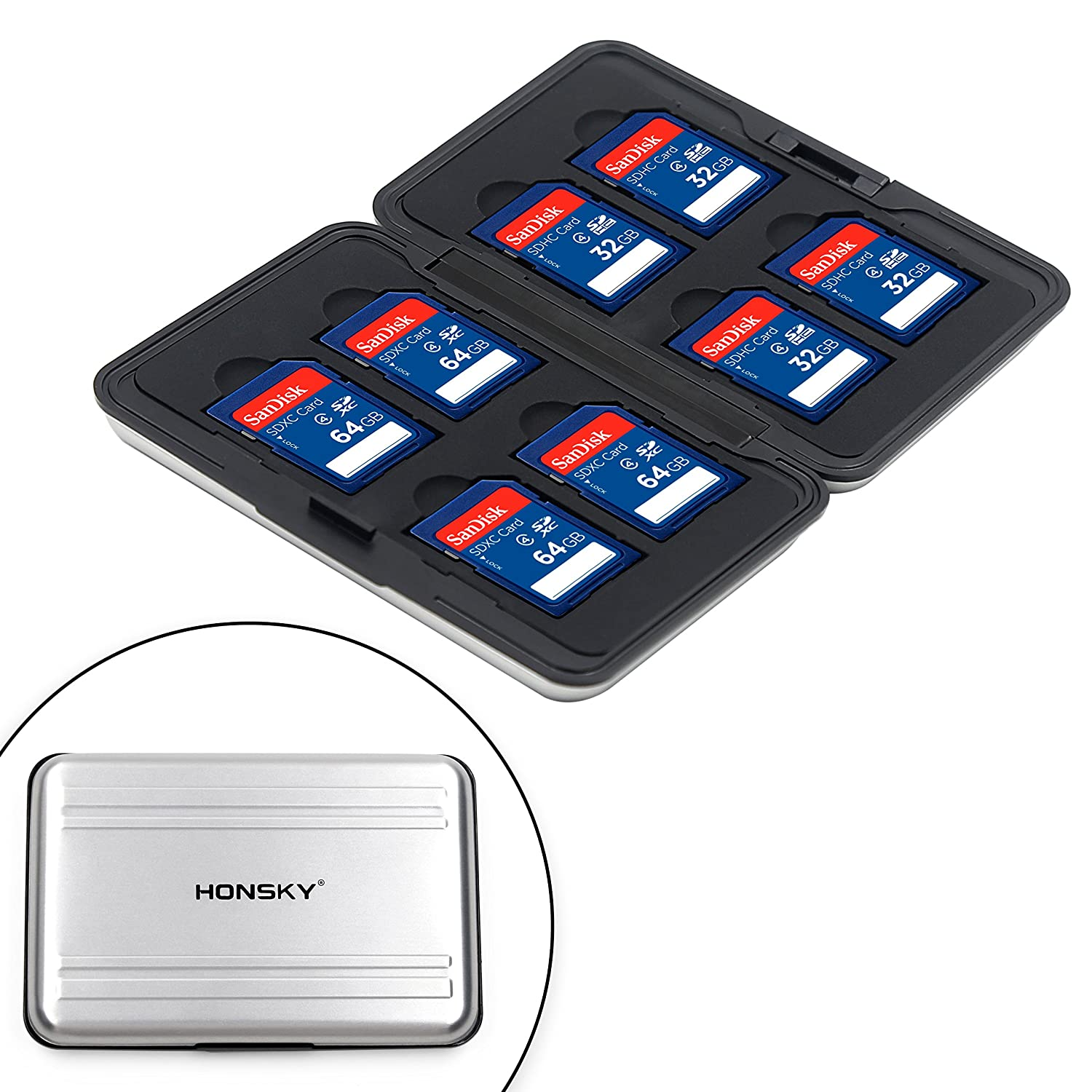 Honsky Aluminum UHS-I SD Micro SD SDHC SDXC TF SecureDigital Memory Card Carrying Case Holder Organizer Box Keeper for Computer Camera Media Storage ...
