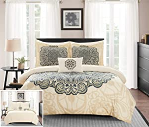 Chic Home Palmer 8 Piece Reversible Comforter Large Scale Boho Inspired Medallion Paisley Print Design Bed in a Bag-Sheet Set Pillowcases Decorative Pillow Shams Included, Queen, Beige