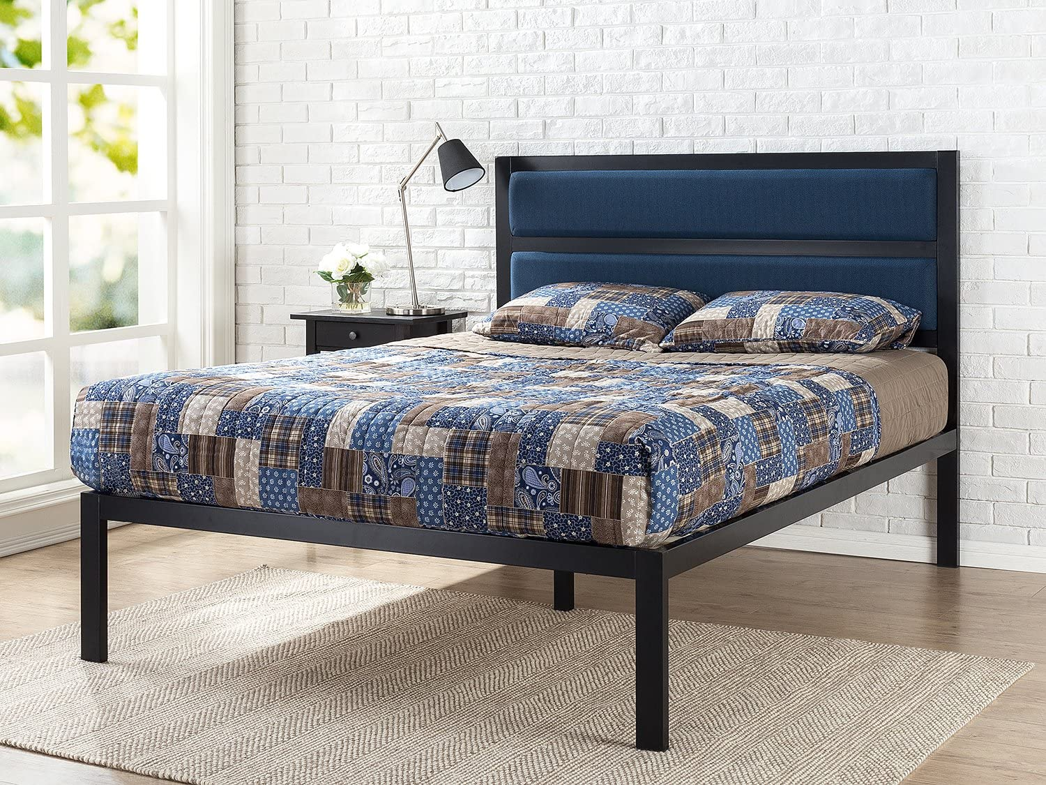 Zinus 16 Inch Platform Bed Metal Bed Frame Mattress Foundation with Tufted Navy Panel Headboard No Box Spring Needed Wood Slat Support, Queen