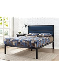 zinus 16 inch platform bed metal bed frame mattress foundation with tufted navy panel
