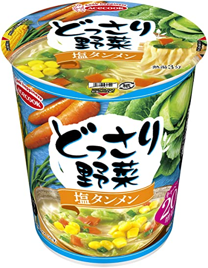 AceCook Vegetables Salt Tanmen 60g × 12 Japan Cup Noodles