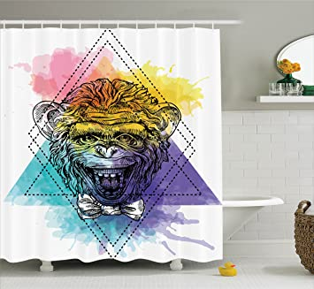 Superior Sketchy Shower Curtain By Ambesonne, Funny Monkey Animal With A Bowtie On  Geometric Artistic Watercolor