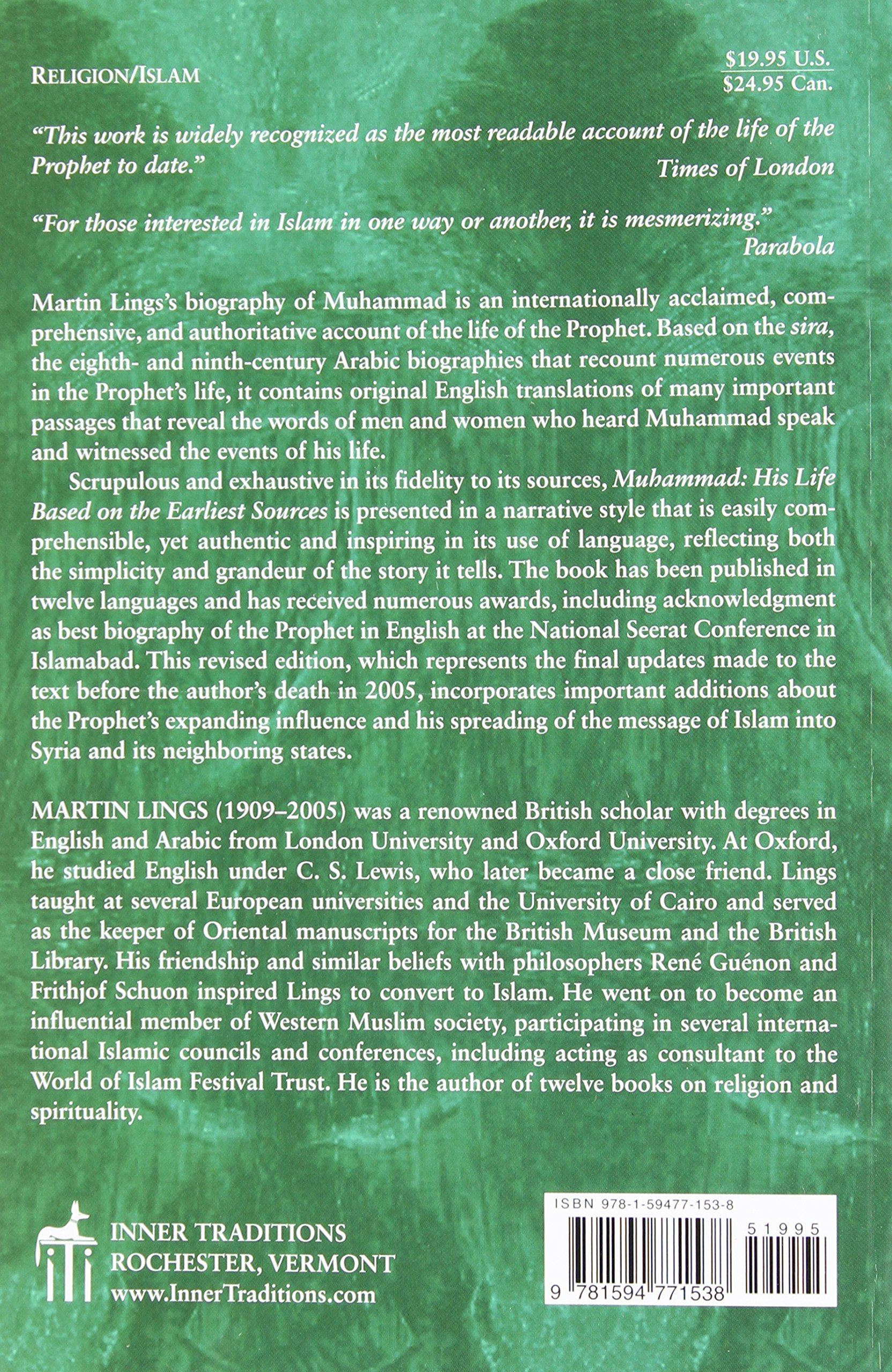 Muhammad: His Life Based On The Earliest Sources: Martin Lings:  8601400051313: Amazon: Books