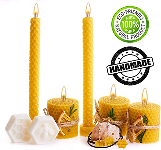 Candles Rolled Handmade Beeswax Candles Pillar Hand Home Decors Eco Friendly