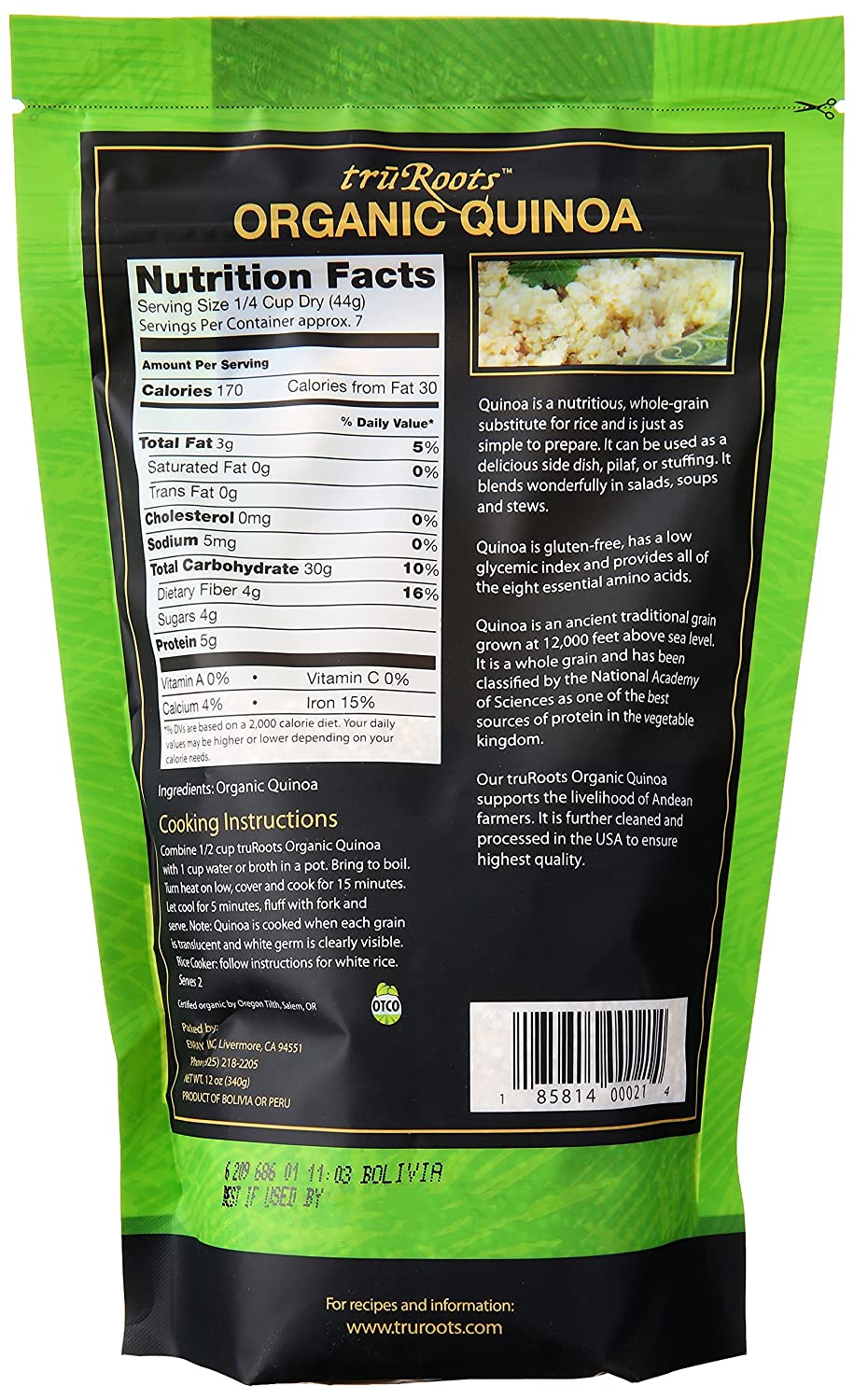 Amazon : Trurootsanic Quinoa 100% Whole Grain Premium Quality, 4  Lbs : Dried Quinoa : Grocery & Gourmet Food