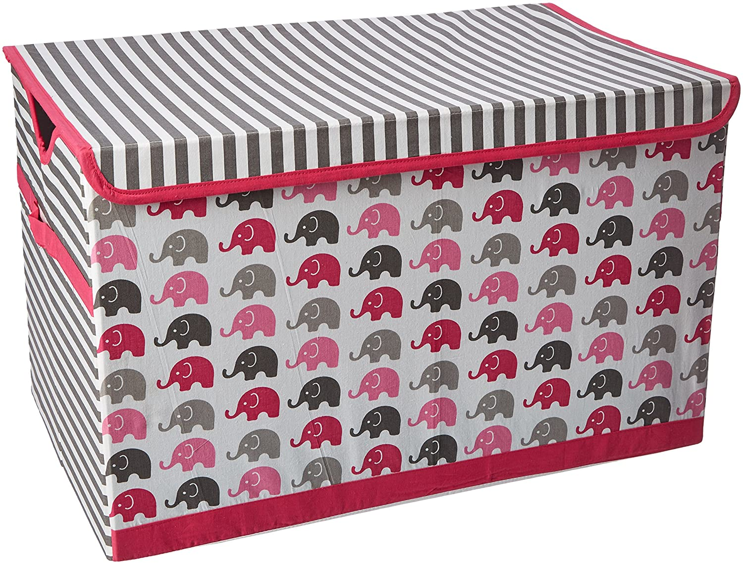 Bacati Elephants Storage Tote Toy Chest, Pink/Grey EPGSTC
