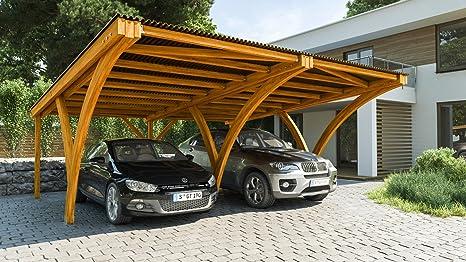 andrewex CarPort Auto Garage Carport único 600 x 308 cm o doble CarPort 600 x 590 cm barnizado tono: pino, cabaña: Amazon.es: Jardín