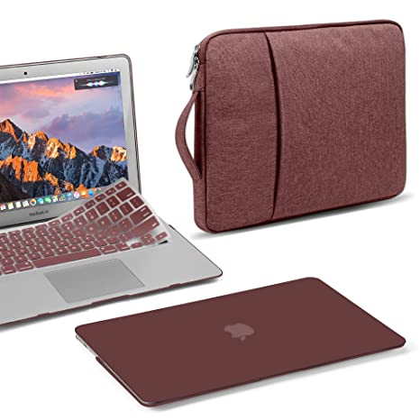 finest selection b66e5 253ff GMYLE MacBook Air 13 Inch Case A1466 A1369 Old Version 2010 2017, 13 13.3  Inch Handle Carrying Sleeve Bag, Keyboard Cover 3 in 1 Set (Burgundy)